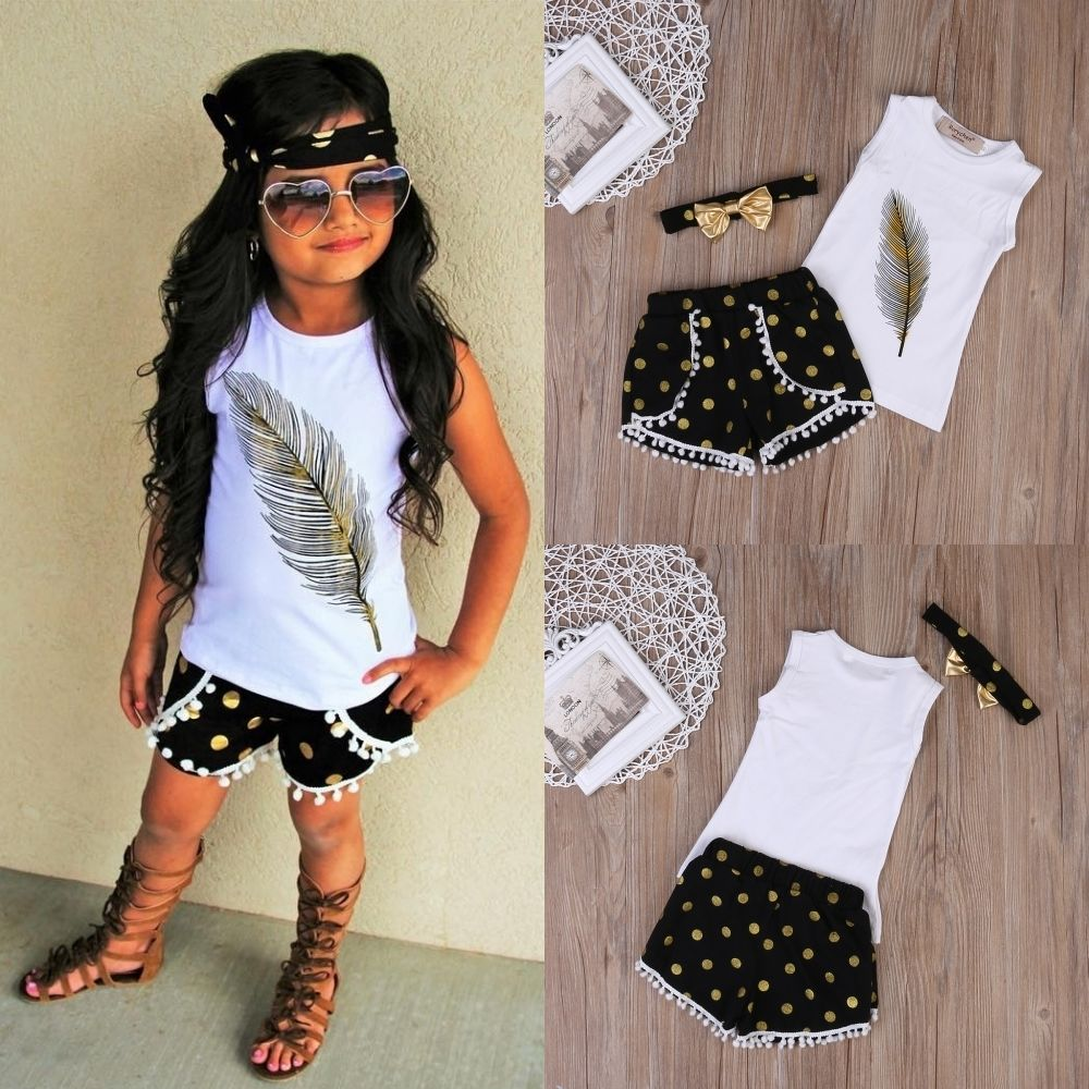 Pudcoco Summer Kids Girls Clothes Cotton Tops T-shirt Shorts Bottom Headband Outfits Set