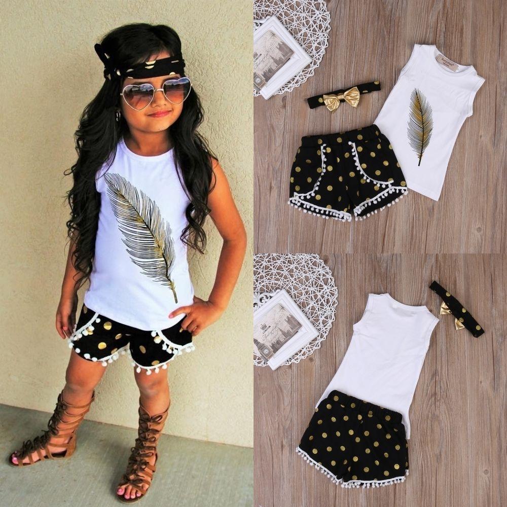 Pudcoco Summer Kids Girls Clothes Cotton Tops T-shirt Shorts Bottom Headband Outfits Set