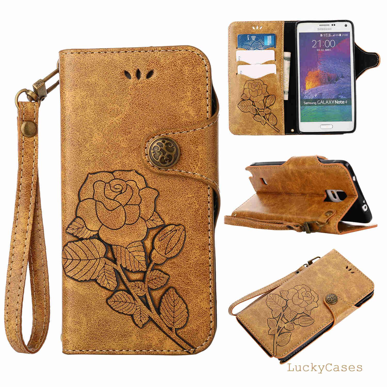 Pour Samsung Note 4 Cas Rétro Style Rose Motif Flip Portefeuille Stand Étui de protection pour Samsung Note 4 Capa
