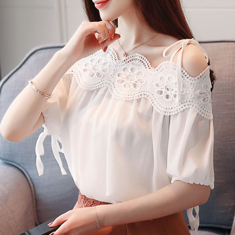 2019 Summer Women sexy White Elegant Lace   Blouse   cold shoulder lace   Shirt   Tops Short Sleeve Blusas Hollow Out   blouse     shirt   23E