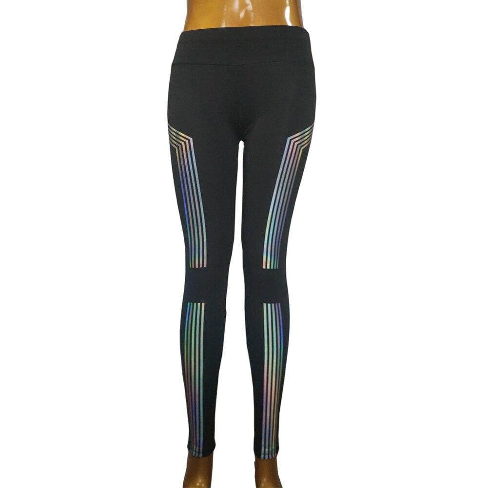 Women Striped Laser Printed Yoga Pants Fitness Sports Legging Reflective Gym Leggings Running Pants Quick Drying Sportswear