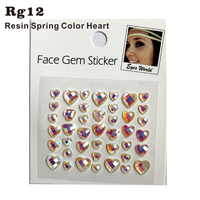 RG12 Spring Color Heart Shiny Resin stick on Eye Gem Jewels Sticker Makeup  Sticker HER Gift 0c720171768a