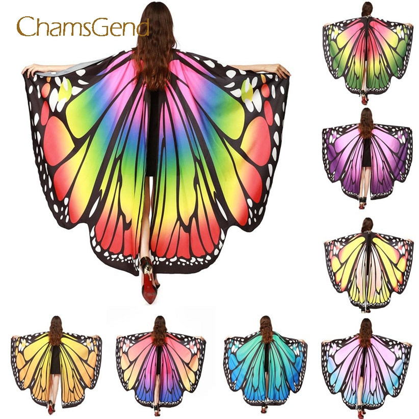 Chamsgend Drop Shipping HOT Women Butterfly Wings Pashmina Shawl Scarf Nymph Pixie Poncho Costume Accessory 70925(China)