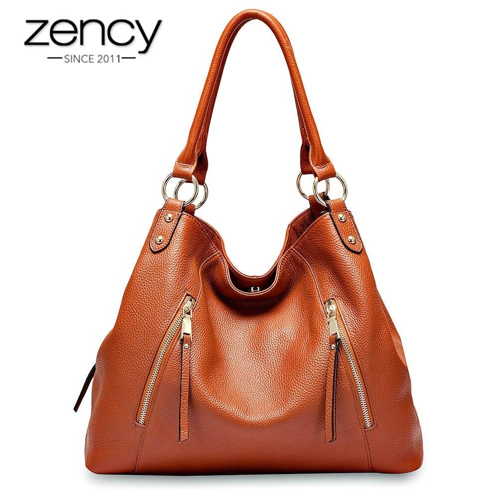 Zency 100 Genuine Leather Handbag Classic Black Women Shoulder Bag High Quality Female Crossbody Messenger Purse