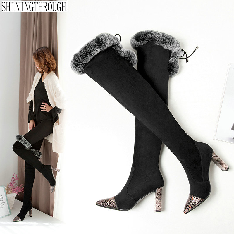 Over The Knee high women snow Boots super high Heels Boots woman Sexy Ladies Stretch Fabric Fashion shoes woman pink palms shoes women over the knee boots sexy high heels women stretch fabric sock boots thigh high sandals ladies shoes