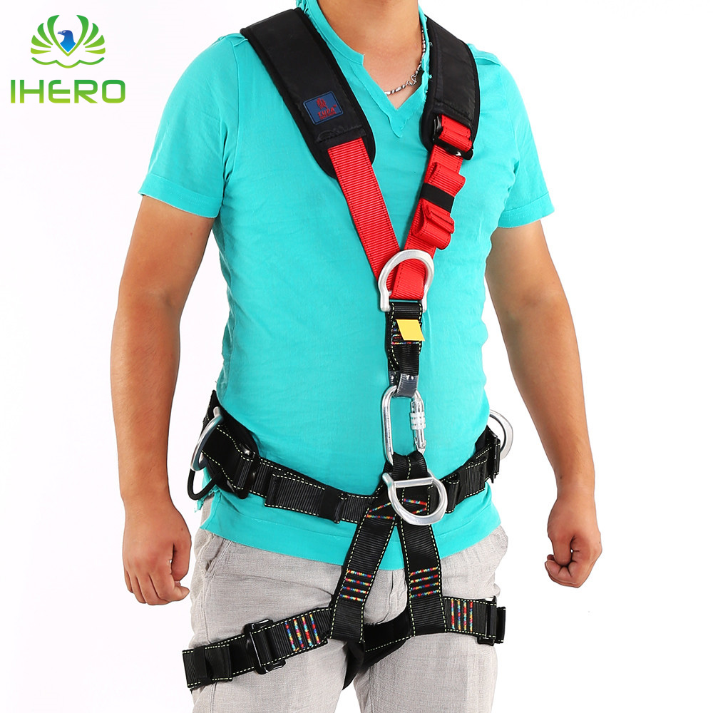 Outdoor Sport Rock Climbing Full Body Style Safety Seat Belts Outward-bound Aerial  Rappelling Harnesses multifunctional professional handle pulley roller gear outdoor rock climbing tyrolean traverse crossing weight carriage fit