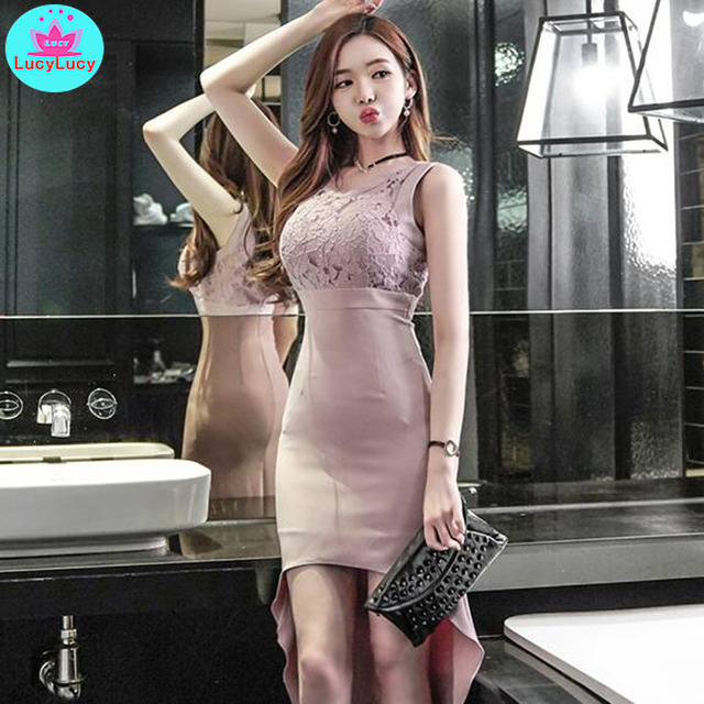 2019 summer new ladies temperament round neck lace stitching irregular dovetail waist dress Sleeveless