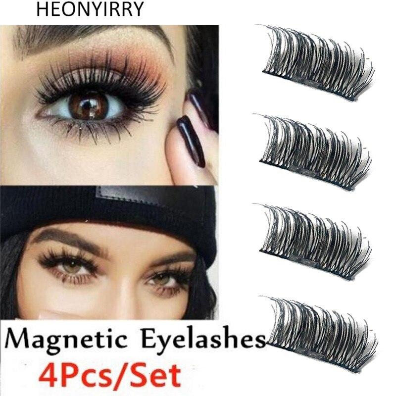 a0b3a2aa81b 4Pcs/Set Hot Reusable 3D Magnetic False Eyelashes Long Thick Natural  Eyelashes Extension Makeup No Glue