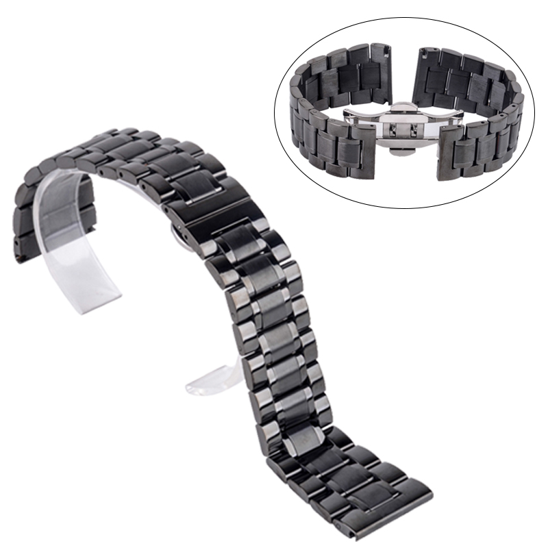 Shellhard New High Quality Silver Black Rose Gold Watchband Stainless Steel Butterfly Clasp Buckle Straight End Watch Band Strap top quality new stainless steel strap 18mm 13mm flat straight end metal bracelet watch band silver gold watchband for brand