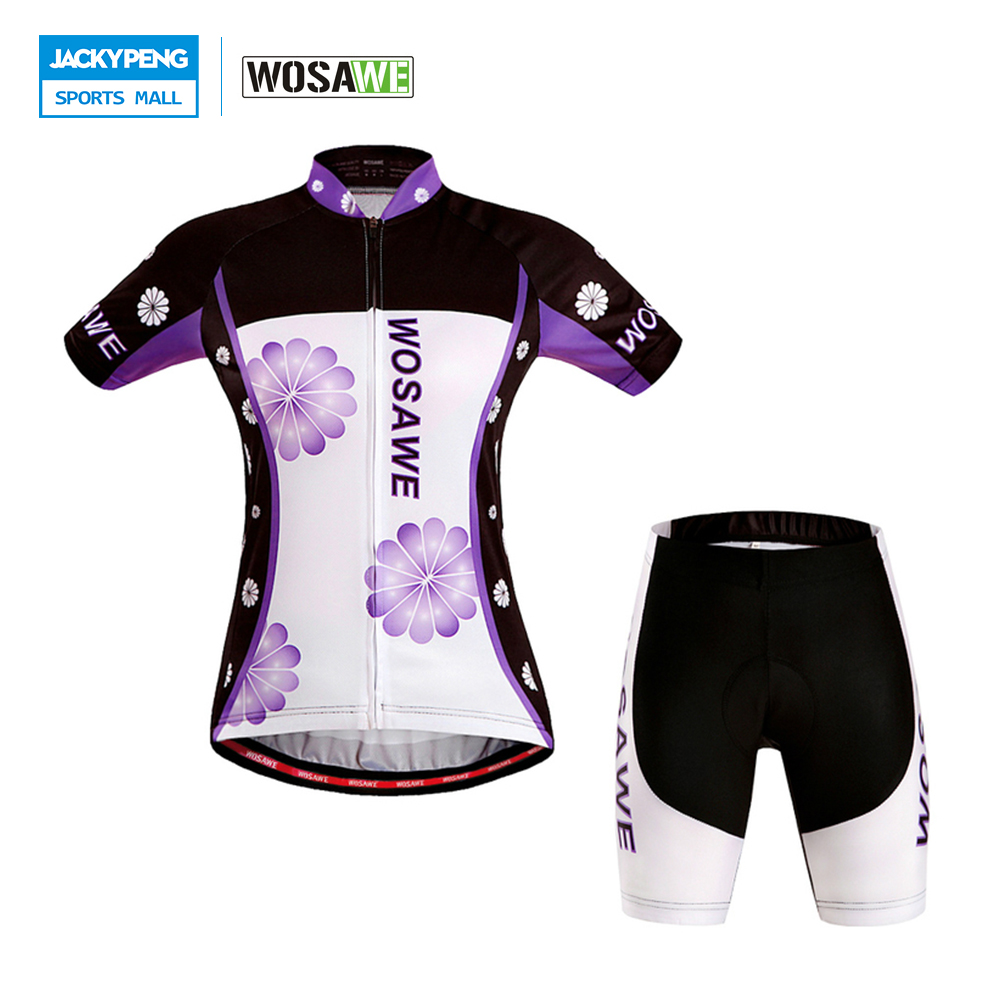 WOSAWE Summer Women Short Sleeve Cycling Jerseys + 4D Gel Pad Shorts Set Quick-Dry Bicycle Sport wear Bike Shorts Clothing Suit 2016 couple long sleeve bike riding jerseys sets quick dry gel breathable pad stretchable 3d cutting cycling clothing equipment