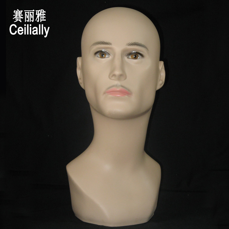 Free Shipping Men Male Mannequin Head With Beard Wig Hairdressing Dummy Maniquin Head Cap Hat Display Stand Model mannequin