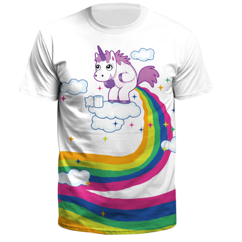 Brand T Shirt Cute Horse Rainbow And Clouds Tshirt Tops Clothes Short Sleeve Clothing 3d T-shirt Women Funny T Shirt