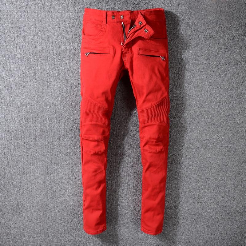 High Street Fashion Men's Jeans Spliced Slim Fit Cargo Pants Big Size 29-42 White Red Color Hip Hop Jeans Men Biker Jeans Homme