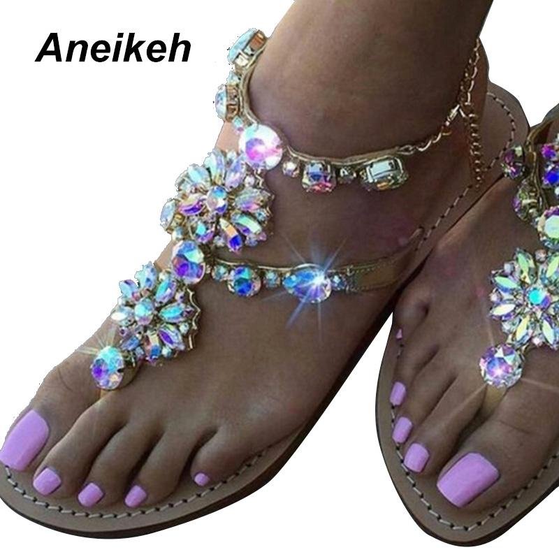 Aneikeh 2018 Woman Sandals Women Shoes Rhinestones Chains Diamond Beaded Pinch Flat Bohemia Sandals Female Large Size 41 42 NEW timetang flat sandals t strap fashion trend sandals bohemia national flat heel beaded female shoes sale women shoes