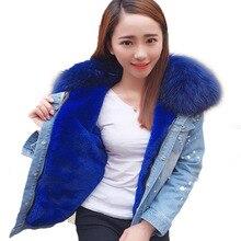 maomaokong2017 new Casual winter jacket women Holes denim jacket fur coat real raccoon fur collar aux fur thick warm Liner parka