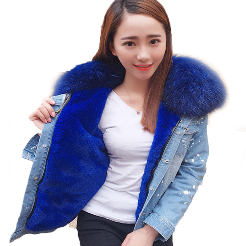 maomaokong2017 new Casual winter jacket women Holes denim jacket fur coat real raccoon fur collar aux fur thick warm Liner parka 2017 autumn winter jacket coat women holes denim long jacket real large raccoon fur collar and faux fur thick warm liner