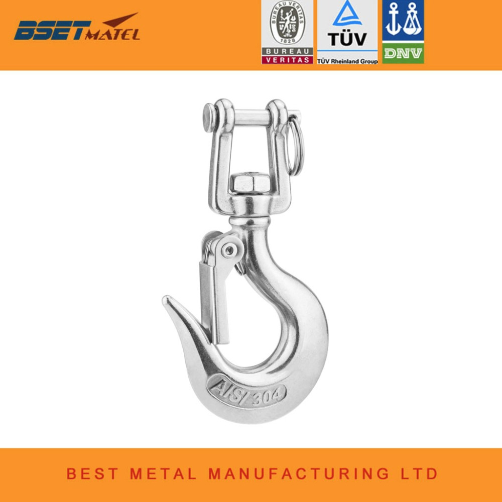 304 Stainless Steel  Swivel Eye Lifting Snap Hook cargo snap hook crane hook with Latch NO Rust marine rigging hardware