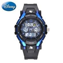 Disney children sports multifunctional watch Boy Girl like 5ATM waterproof rubber LED round watches Kids quartz Hot Mickey 55049 цена 2017