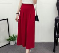 2017 Summer Women's Casual Fashion Wide Leg Pants 9 11 high Trousers solid classic Seven Waist Pants FHK18 01 FHK18 13