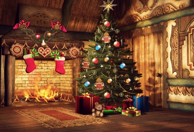 Laeacco photography backdrop christmas tree brick wall fireplace
