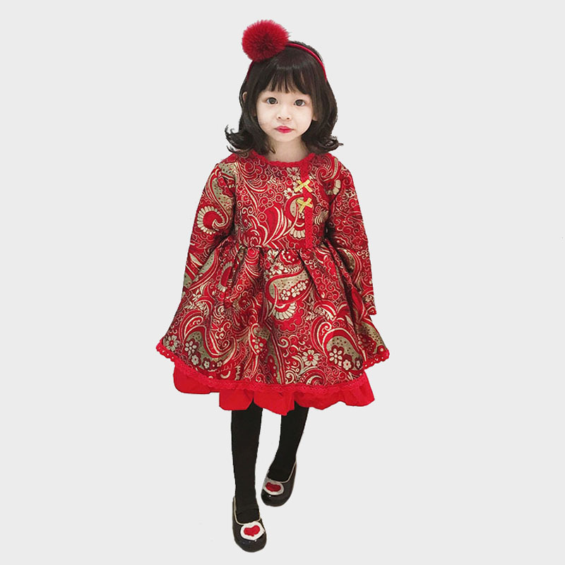 2018 New Style Baby Girl Red Dress Christmas Dress Chinese Style Warm Winter Dress For Girl Clothes 2018 New Style Baby Girl Red Dress Christmas Dress Chinese Style Warm Winter Dress For Girl Clothes