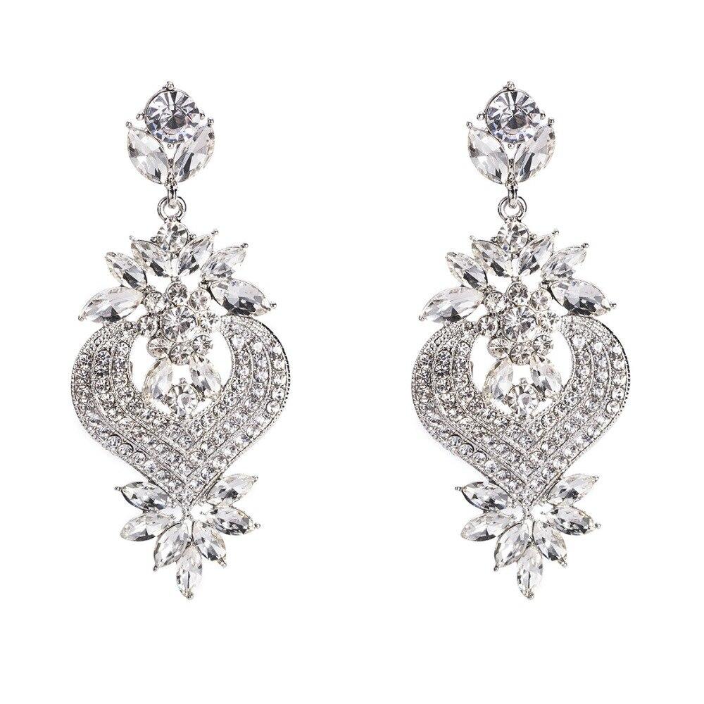 Rhinestone Statement Earrings For Women Flower Drop Dangle Earring 19 Fashion earing Trendy Wholesale Wedding Jewelry 5