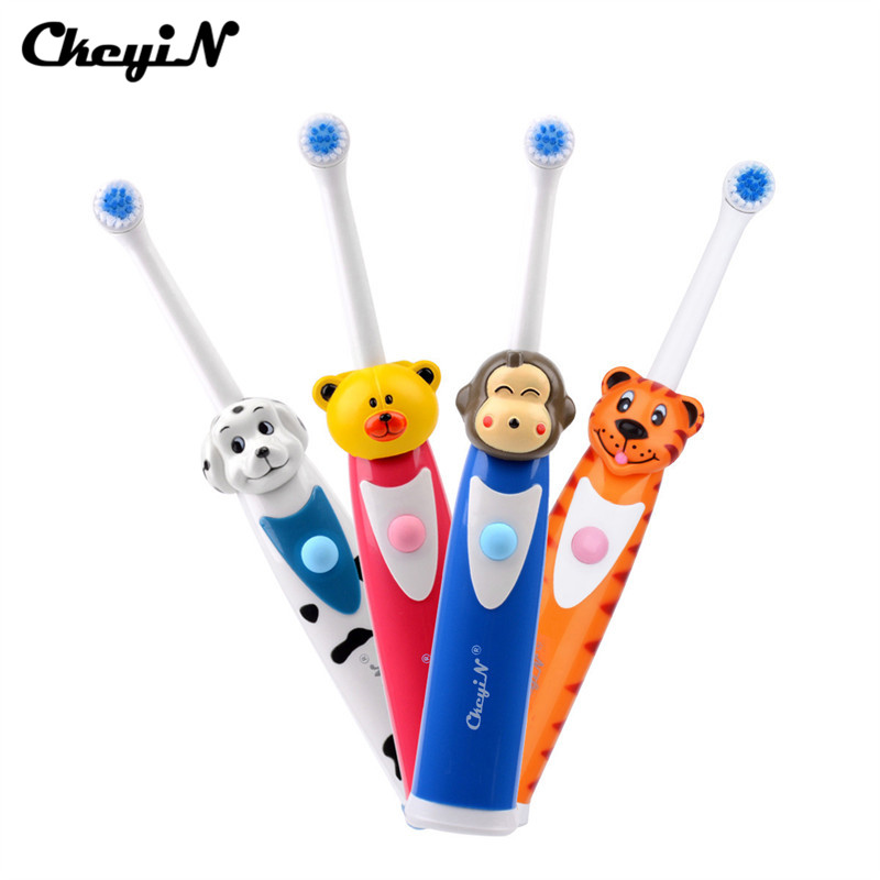 Kids Baby Electric Toothbrush Cute Cartoon Animals Soft Silicone Portable Sonic Toothbrushes Replacement Brush Heads For Toddler image