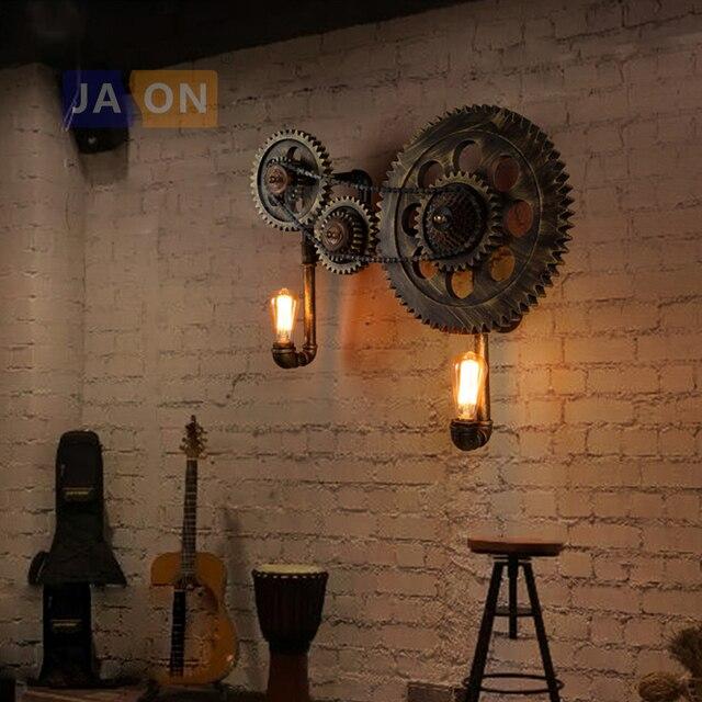 e27 Edison Loft Industrial Wooden Gear Iron LED Lamp LED Light Wall lamp Wall Light Wall Sconce For Bar Foyer Bedroom