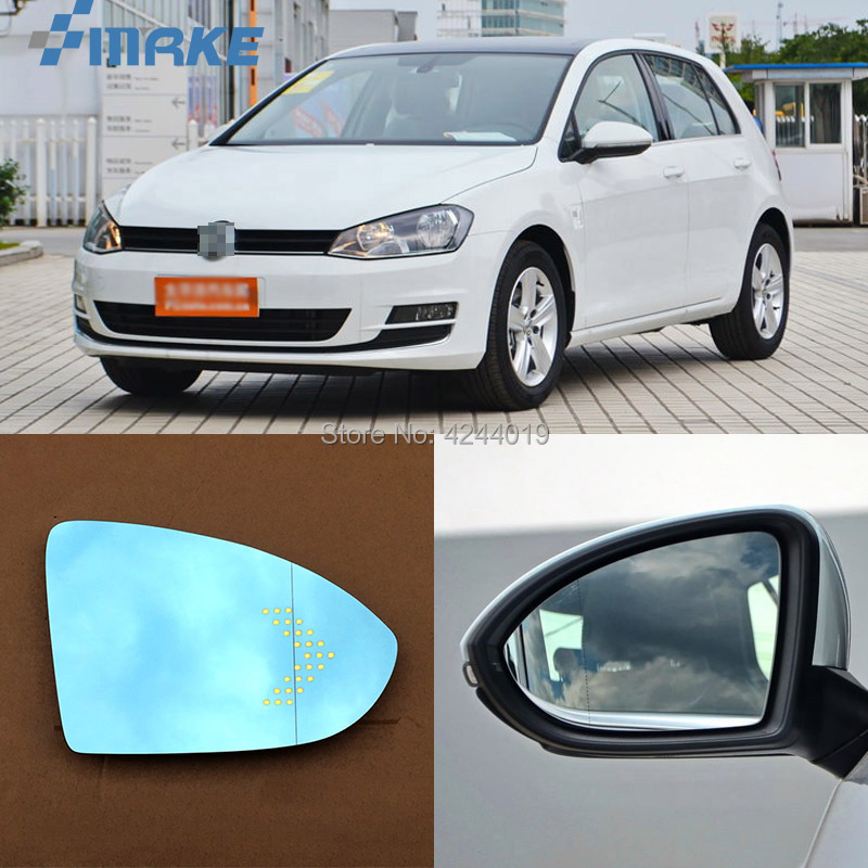 smRKE For VW Volkswagen Golf 6 7 Car Rearview Mirror Wide Angle Hyperbola Blue Mirror Arrow LED Turning Signal Lights