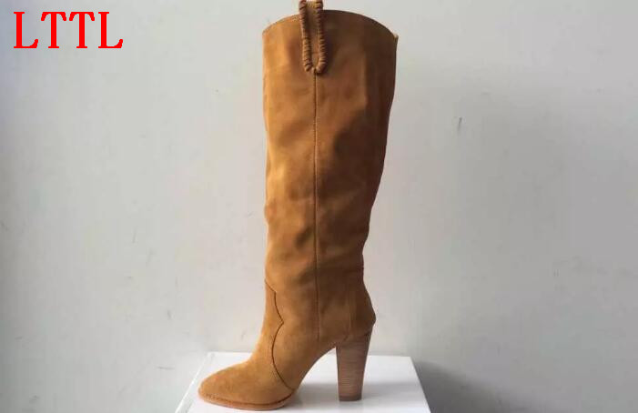 LTTL women fashion boots Autumn boots pointed toe knee-high high square heels slip-on women casual shoes suede boots brown