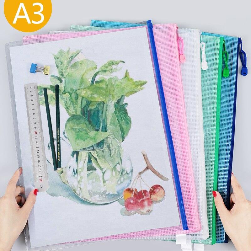 1pcs A3 Size Waterproof Plastic Zipper Paper Folder Book Pencil Pencil Case Paper File Bag Office Student Supplies