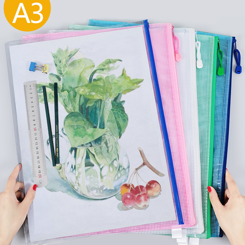 1pcs A3 Size Waterproof Plastic Zipper Paper Folder Book Pencil Pencil Case Paper File Bag Office Student Supplies
