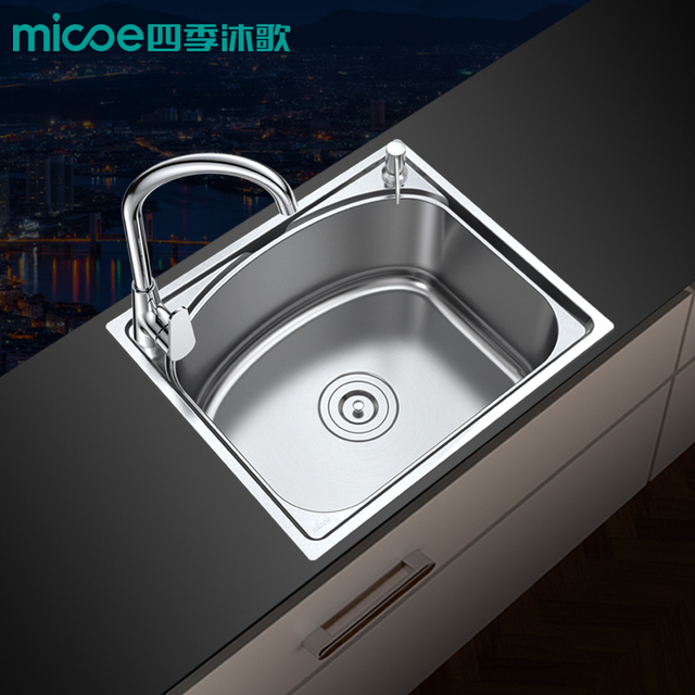 Kitchen Sink 510 430 210 304 Stainless Steel Brushed Single Bowl High Capacity With Soap Dispenser Micoe M B1001 51 A