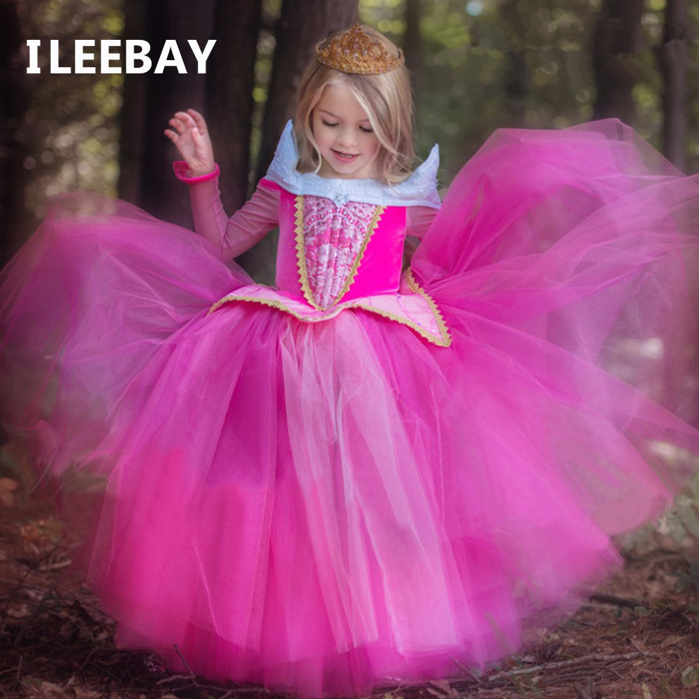 New Spring Fantasy Girl Princess Sleeping Beauty Aurora Dresses Party Kids Costumes For Girls Fancy Children Girls Cosplay Dress аксессуары для косплея random beauty cosplay