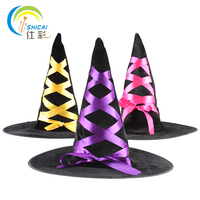 Free Shipping Halloween Witches Hat Ribbon Dance Party Activities Play A Sorcerer Witch Dress Up Props