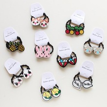 Hot 2Pcs Cartoon Animal Rabbit Hair Clip for Kids bear Elastic Band girls kids hair Accessories