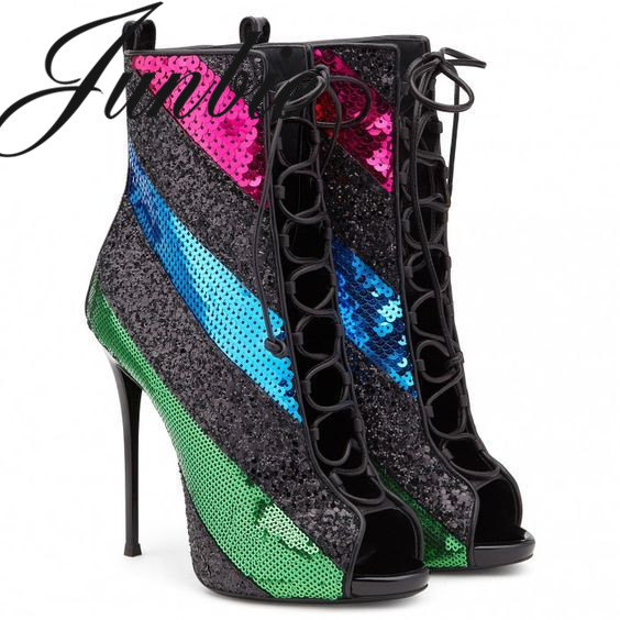 Femmes Lacets Mince Ouvert Gladiateur Junbie Nouveau Talons Hauts Bout Chaussures Paillettes À forme As Plate Pic Bling Bottes qqYXfw