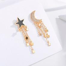 купить HONGYE New Pattern Moon Star Gold Silver Plated Tassel Drop Earrings Femme Trendy Women Earrings Long Brincos 2019 онлайн