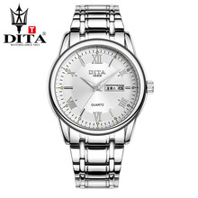 DITA Mens analog metal band Wristwatches mens  Quartz  Business Casual Classic Wristwatch  2tone color stanless steel band Roman