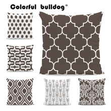Pillowcase Cushions Geometric-Pattern Brown Sofa Velvet-Decor Arrow Diamond 45x45cm Spotted