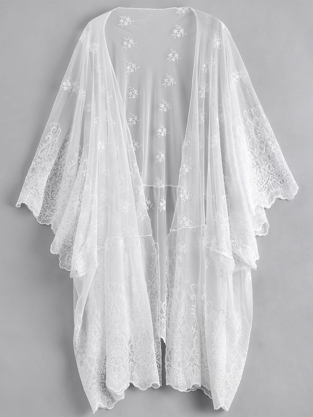 2018 Embroidered Floral Bikinis Cover Up White See-through Lace Beach Suit Robe De Plage Women Sarong Bathing Dress