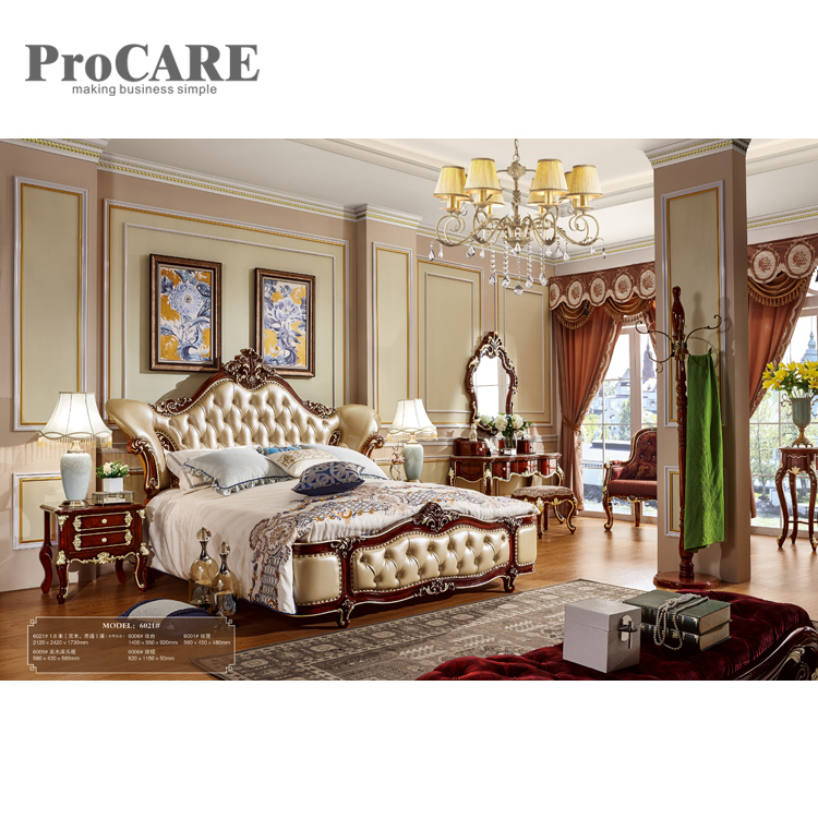 Restaurant wooden antique bed with wood frame, leather furniture beds - 6021