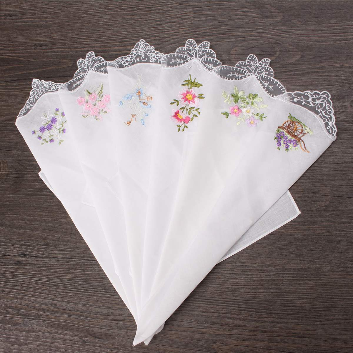 Embroidered Butterfly Lace Flower Hankies 6pcs Vintage