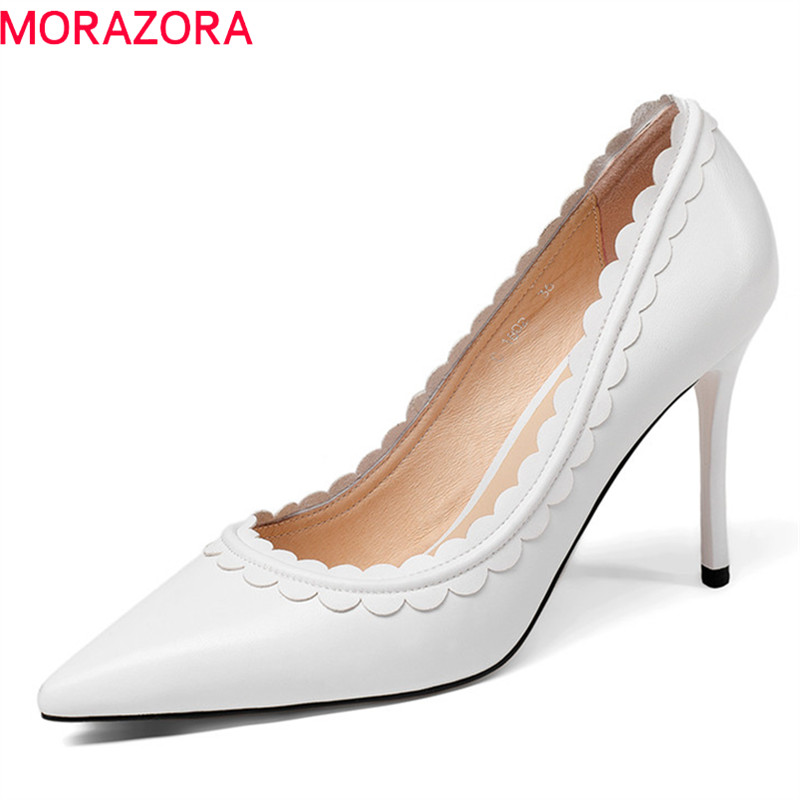 MORAZORA 2018 genuine leather ladies shoes pointed toe women pumps shallow elegant wedding shoes sexy thin high heel shoes woman shoes woman pumps thin high heel 12cm shallow slip on wedding shoes patent leather pointed toe printing fashion sexy size 11 fsj