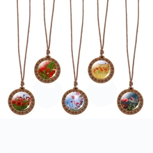 Poppy Flower Vintage Art Wooden Necklace Glass Cabochon Wood Rope Chain Unisex Accessories