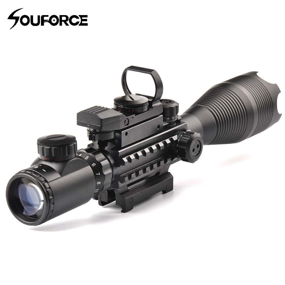 Tactical 4-16X50EG Rifle Scope Holographic Dual Illuminated Dot Sight with Red/Green Laser Combo for Rifle Airsoft Gun Sight tactical 5mw 650nm red laser dot rifle scope sight for 20mm gun gauge black