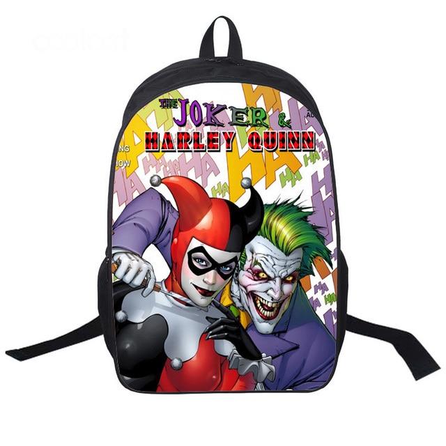 135c0ccaf248 Student Polyester School Book Bag Batman Clown Suicide Joker Harley Quinn  Printed Back to School Gift