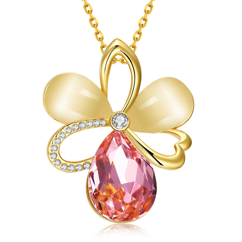 Vintage Gold 585 Plated Jewelry Flower Pendants Opal Rhinestone Maxi Choker Necklaces For Women Collier Femme