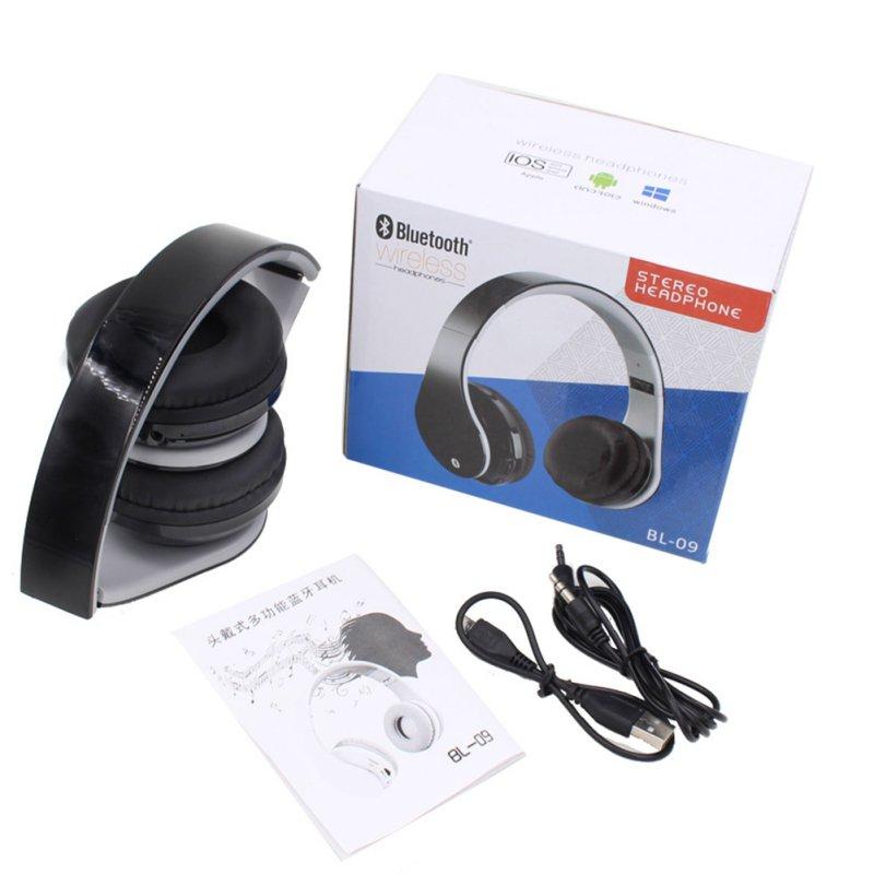 Wireless Bluetooth Headphone Over Ear Stereo Earphone Music Headset 3.5mm FM Hands-free w/Mic for Smart Phones