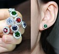 Princess CZ Stud Earrings 925 Sterling Silver Pin Engagement Wedding Earrings For Women Lab Sapphire Created Ruby Luxury Jewelry